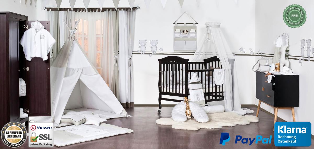 Baby Bettwäsche Himmel Nestchen Bettset mit Applikation für die Wiege Design 12K